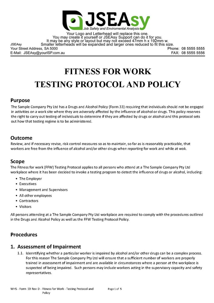 Fitness for Work - Testing Protocol and Policy