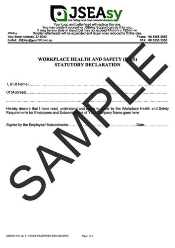 WHS Statutory Declaration