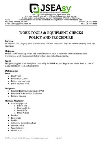 Work tools + equipment checks  policy and procedure