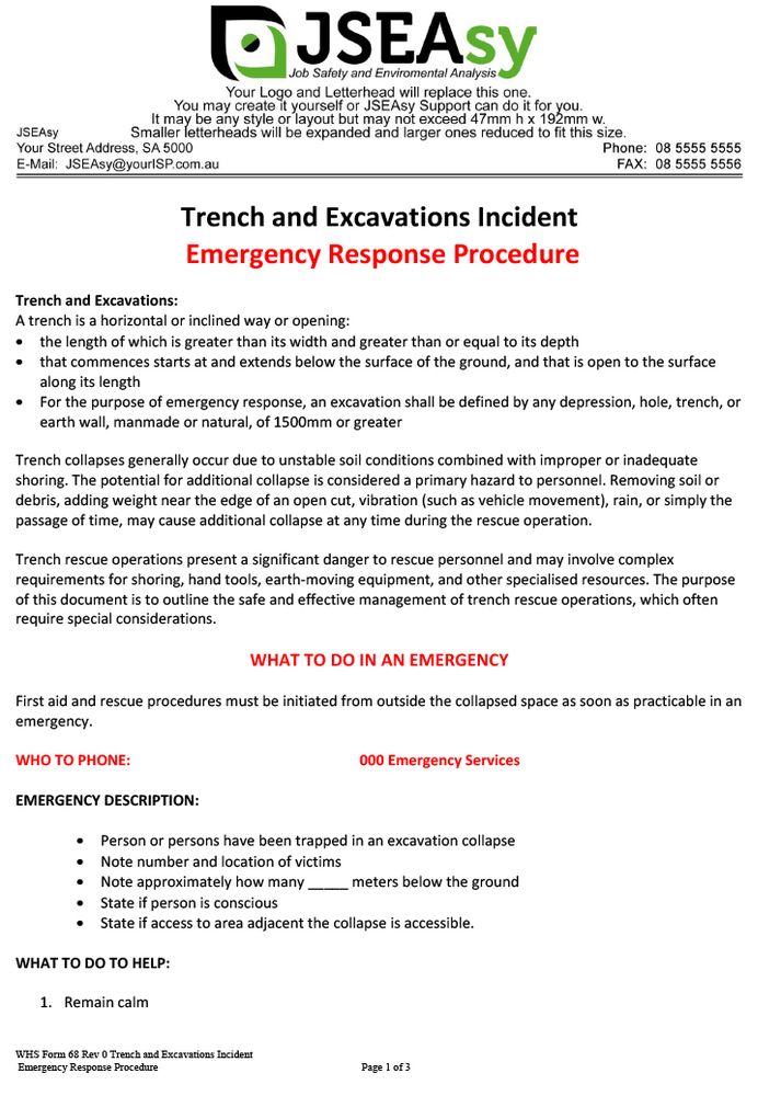 Trench and Excavations Incident ERP